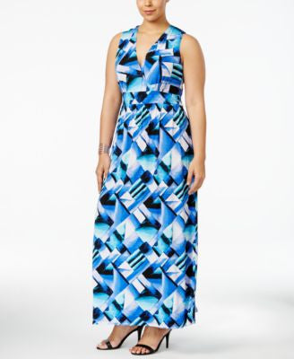 NY Collection Plus Size Surplice Printed Maxi Dress