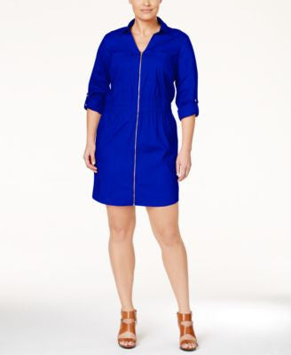 MICHAEL Michael Kors Plus Size Zip-Front Shirdress