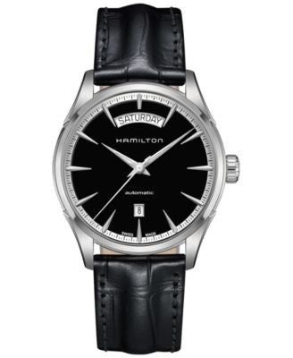 Hamilton Men's Swiss Automatic Jazzmaster Black Leather Strap Watch 42mm H42565731INV