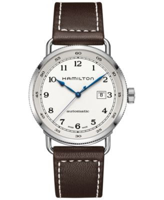 Hamilton Men's Swiss Automatic Khaki Navy Pioneer Brown Leather Strap Watch 43mm H77715553