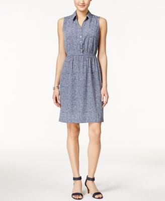 Alfani Petite A-Line Sleeveless Shirtdress, Only at Vogily