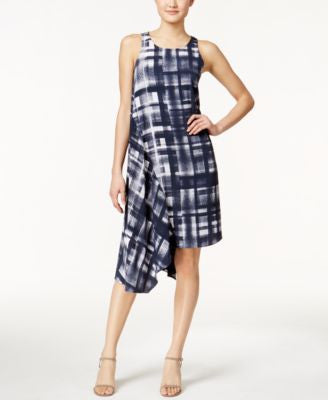 Alfani Printed Asymmetrical-Hem Dress, Only at Vogily