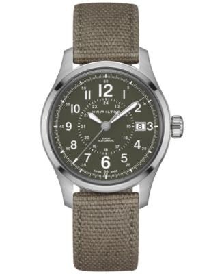 Hamilton Men's Swiss Automatic Khaki Field Green Canvas Strap Watch 40mm H70595963