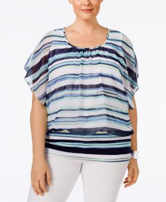 Style & Co. Plus Size Striped Chiffon-Overlay Flutter-Sleeve Blouse, Only at Vogily