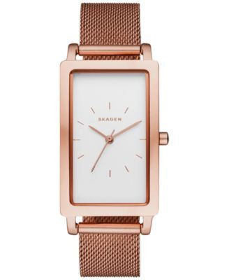 Skagen Women's Hagen Rose Gold-Tone Stainless Steel Mesh Bracelet Watch 22x43mm SKW2466