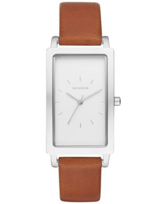 Skagen Women's Hagen Brown Leather Strap Watch 22x43mm SKW2464