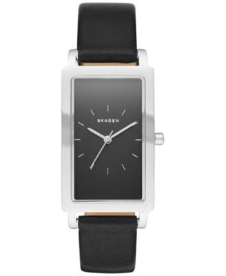 Skagen Women's Hagen Black Leather Strap Watch 22x43mm SKW2462