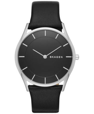 Skagen Women's Slim Holst Black Leather Strap Watch 34mm SKW2454
