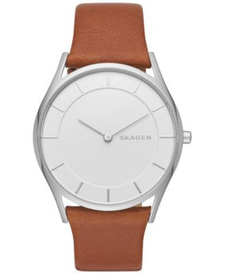 Skagen Women's Slim Holst Brown Leather Strap Watch 34mm SKW2453