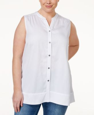 Style & Co. Plus Size Sleeveless Shirt, Only at Vogily