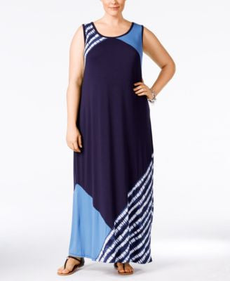 Style & Co. Plus Size Colorblocked Sleeveless Maxi Dress, Only at Vogily