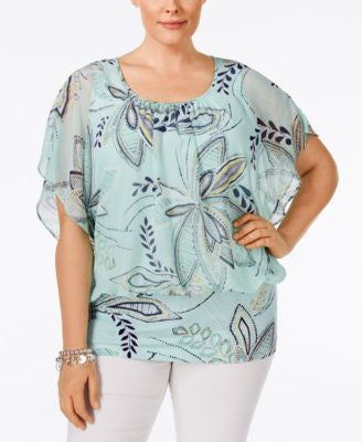 Style & Co. Plus Size Printed Chiffon-Overlay Flutter-Sleeve Blouse, Only at Vogily