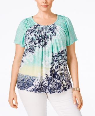 Style & Co. Plus Size Printed Pleated Short-Sleeve Top, Only at Vogily