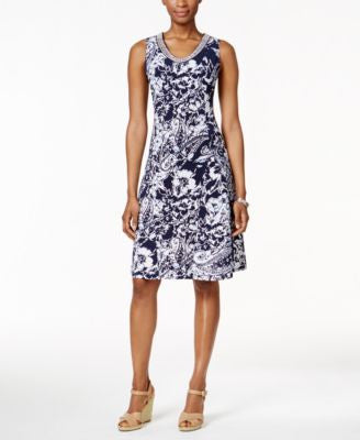 JM Collection Printed Sleeveless Dress, Only at Vogily