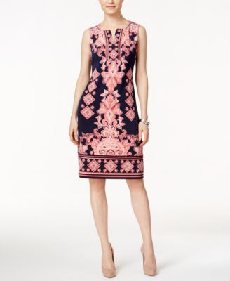 JM Collection Petite Printed Sheath Dress, Only at Vogily