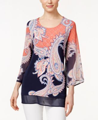 JM Collection Three-Quarter-Sleeve Printed Blouse, Only at Vogily