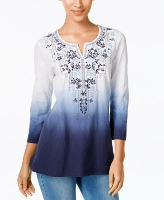 JM Collection Dip-Dyed Embroidered Tunic, Only at Vogily