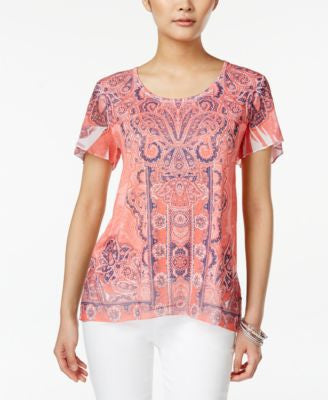 JM Collection Printed Chiffon-Sleeve Top, Only at Vogily