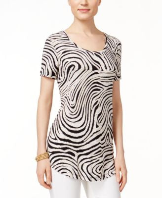 JM Collection Petite Zebra-Print Short-Sleeve Top, Only at Vogily