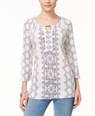 JM Collection Petite Embroidered Peasant Blouse, Only at Vogily