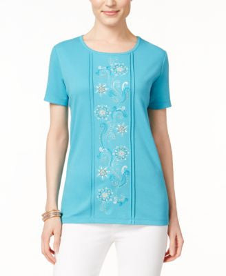 Alfred Dunner Floral-Embroidered Short-Sleeve Top