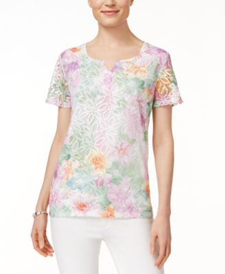 Alfred Dunner Floral-Print Lace Top