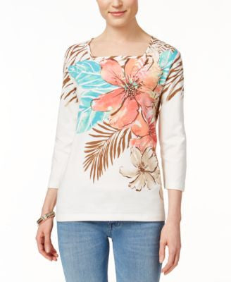 Alfred Dunner Floral-Print Three-Quarter-Sleeve Top