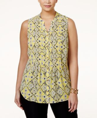 Charter Club Plus Size Printed Pintucked Blouse, Only at Vogily