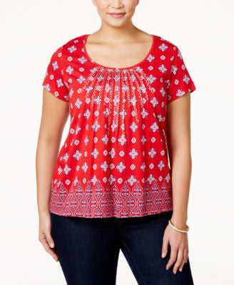 Charter Club Plus Size Printed Embroidered Top, Only at Vogily