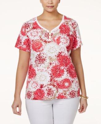 Karen Scott Plus Size Tie-Dyed Henley T-Shirt, Only at Vogily