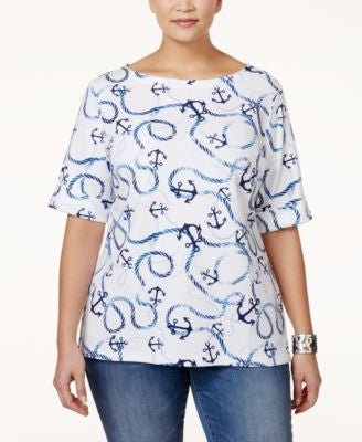 Karen Scott Plus Size Nautical Printed Top, Only at Vogily