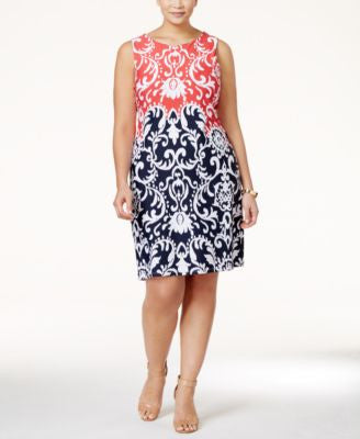 Charter Club Plus Size Ikat-Print Shift Dress, Only at Vogily