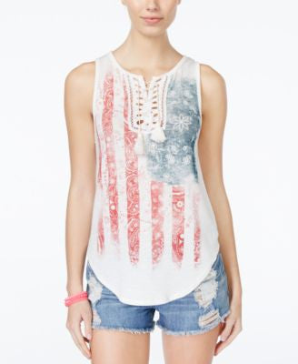 American Rag Americana Lace-Up Tank Top, Only at Vogily
