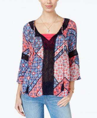Jessica Simpson Alaya Printed Lace-Trim Peasant Top