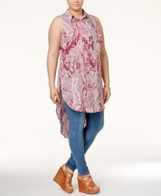 Jessica Simpson Plus Size Printed High-Low Long Blouse