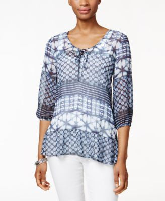 Style & Co. Petite Printed Peasant Top, Only at Vogily