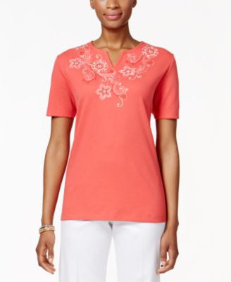 Alfred Dunner Petite Embroidered Split-Neck Top