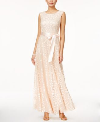 Tahari ASL Sleeveless Floral Appliqué Gown