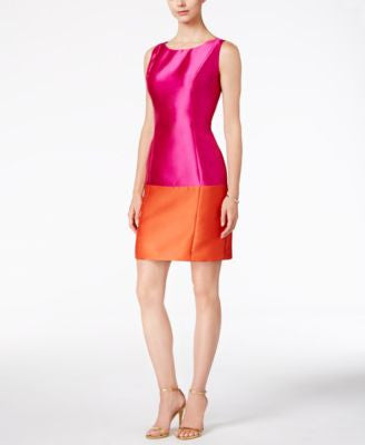 B Michael Colorblocked Satin Sheath Dress