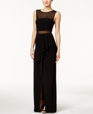 Xscape Draped Illusion Gown