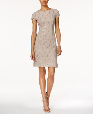 Alex Evenings Petite Layered Sequined Lace Sheath Dress