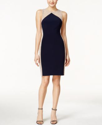 Xscape Sleeveless Colorblocked Beaded Dress