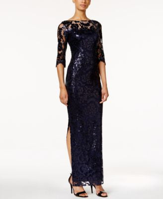 Calvin Klein Sheer-Sleeve Sequined Illusion Gown