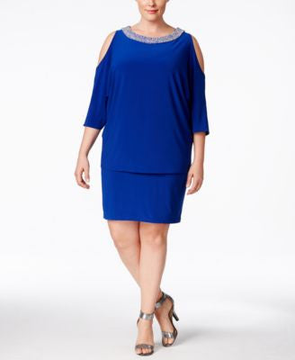 Betsy & Adam Plus Size Embellished Cold-Shoulder Dress