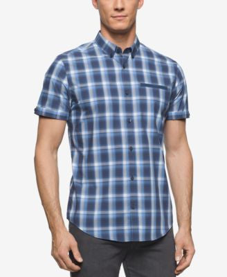 Calvin Klein Men's Plaid Short-Sleeve Shirt
