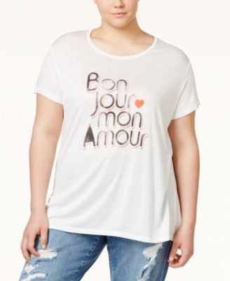 RACHEL Rachel Roy Curvy Trendy Plus Size Bonjour Graphic T-Shirt
