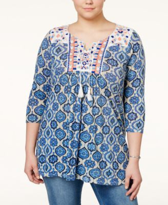 Lucky Brand Plus Size Embroidered Geo-Print Peasant Top