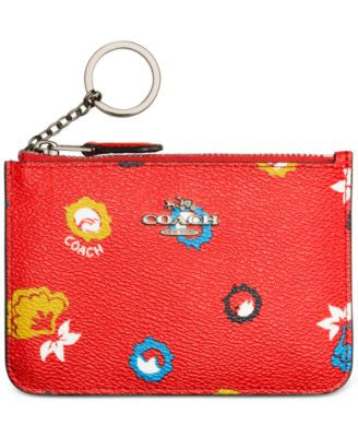 COACH Key Pouch in Wild Prairie Print Coated Canvas