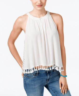 Miss Me Sleeveless Tassel-Detail Top