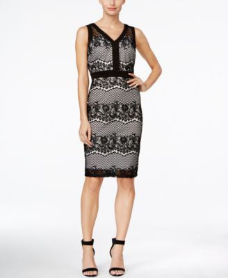 Sangria Sleeveless Lace V-Neck Sheath Dress